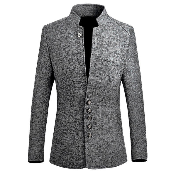 2019 Spring Men's Blazer Stand Collar Slim Fit Jacket Coat