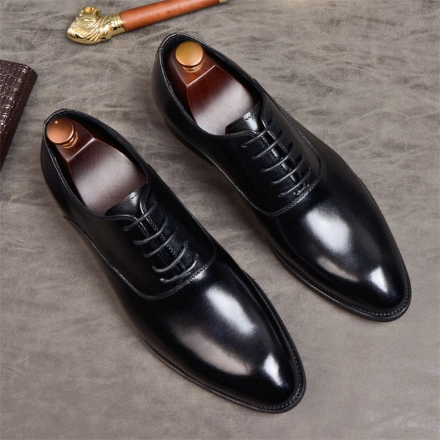 Mens Genuine Leather Oxford Shoes Dress Shoes Wedding Lace