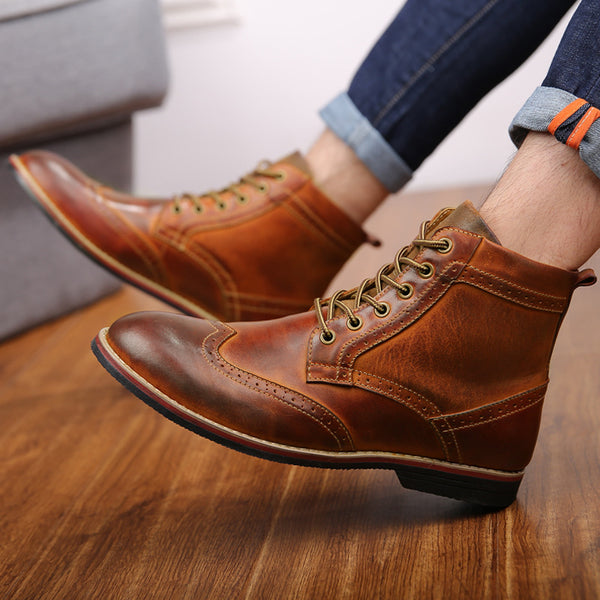 High Quality Men's Genuine Leather Vintage Brogue Boots Casual Lace-up Oxford Shoes