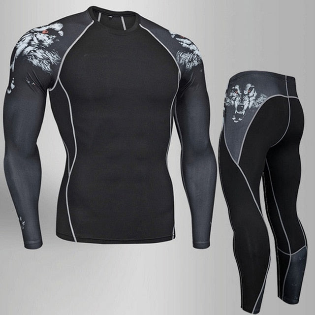 2019 Men's Compression Sports Suit Quick Drying Fitness Training MMA Kit Jogging Running Sportswear