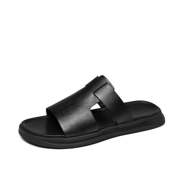 Luxury Men's Summer Sandal Beach Slippers Cowhide Leather Flat Shoes