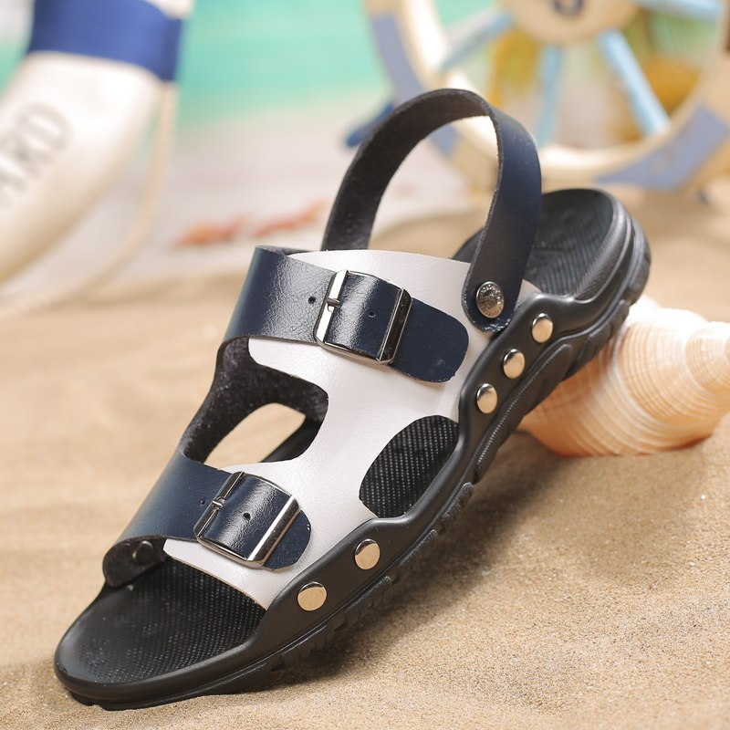 2019 New Summer Men's Sandals Genuine Leather Buckle Slippers Beach Shoe