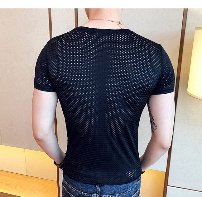 Men's Sexy T-shirts Summer Casual Fitness Mesh Compression Tops Hollow Out t-shirt