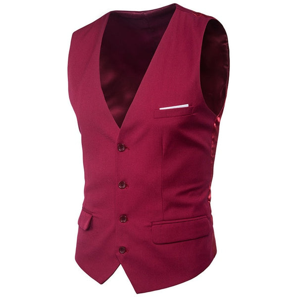 Men's Classical Business Casual Slim Vests Single Buttons Vests Suit