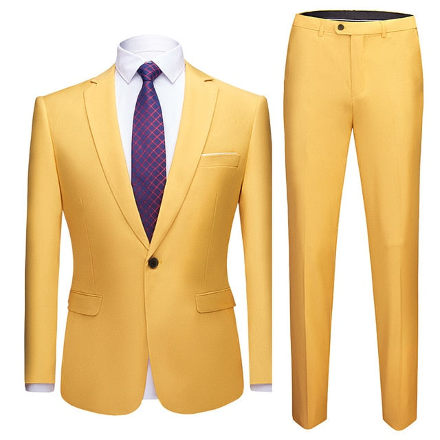 2019 Men's Suits Set Formal Prom Blazer with pants Wedding Tuxedo 2 Piece Suit Set Slim-fit