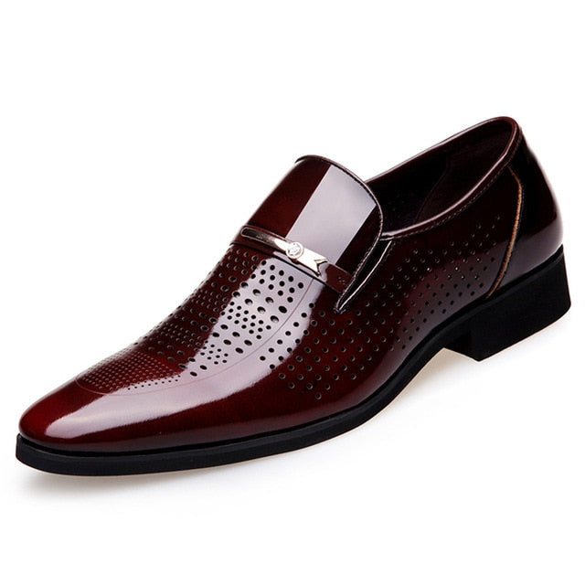 Pointed Toe Men's Oxford Leather Shoes Breathable Wedding Dress Shoe