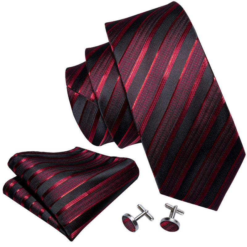 "Luxury Men's Wedding Tie 3.4"" Red Groom Tie Set Striped Designer Ties 8.5cm Kravat"