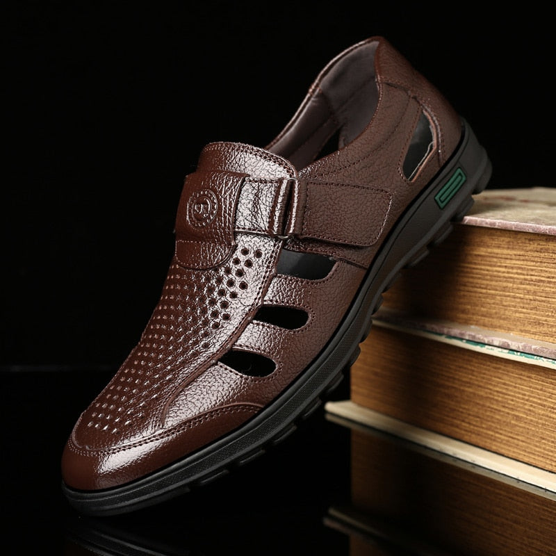 2019 New Men's Genuine Leather Sandals Breathable Summer Shoes