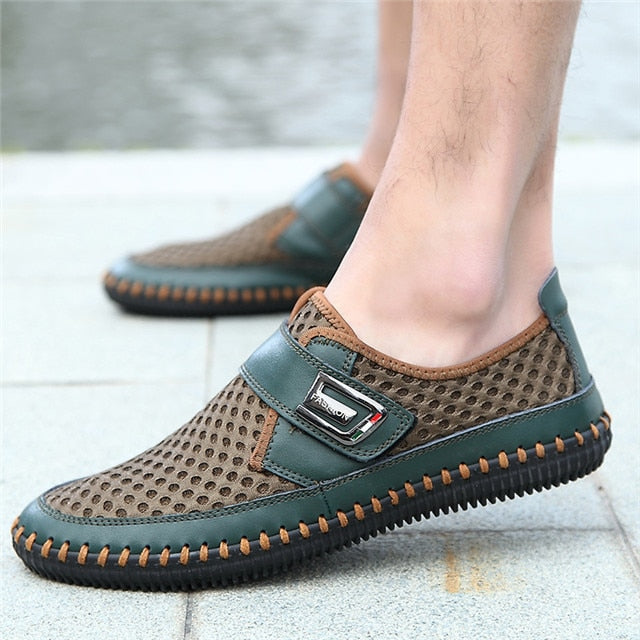 Quality Men's Genuine Leather Shoes Hollow Breathable Loafers Flat Moccasins