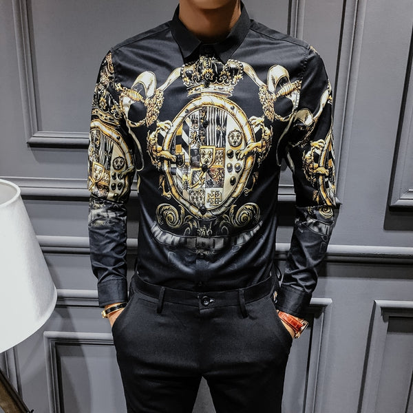 New Baroque Slim Fit Party Club Shirt Men Male Long Sleeve Hip Hop Shirt