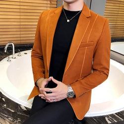 High quality Men Wool Blend Solid Color Casual Business Blazer (Important Note:Please choose the size according to the size table)