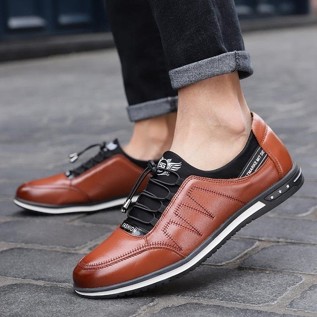 Quality Men's Breathable Lace-up Leather Shoes Loafer Canvas Shoe Plus Size