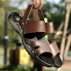 2019 New Summer Men's Sandals Split Leather Casual Shoes