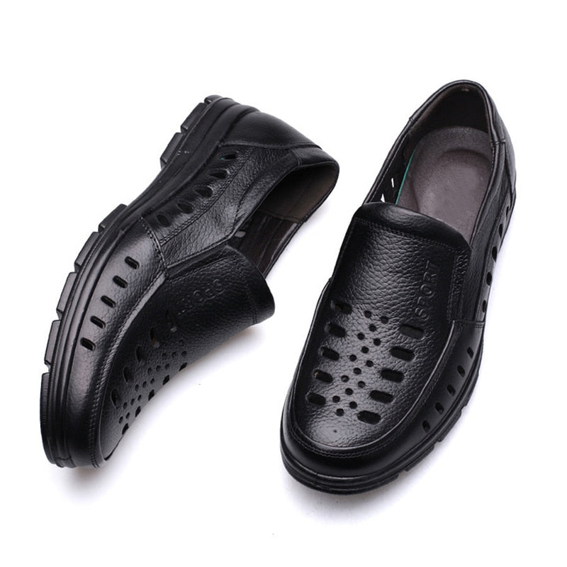 Men's Summer Sandals Genuine Leather Shoes Breathable Oxfords