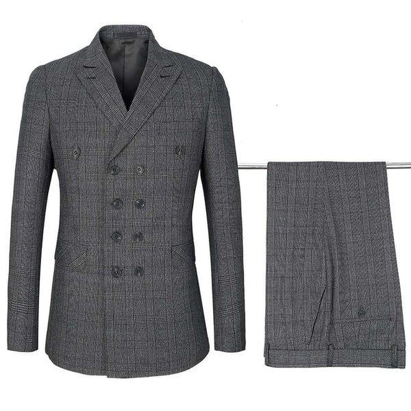 Top Quality Men's Plaid Suit Set Classic Double Breasted Lapel Groom Suit