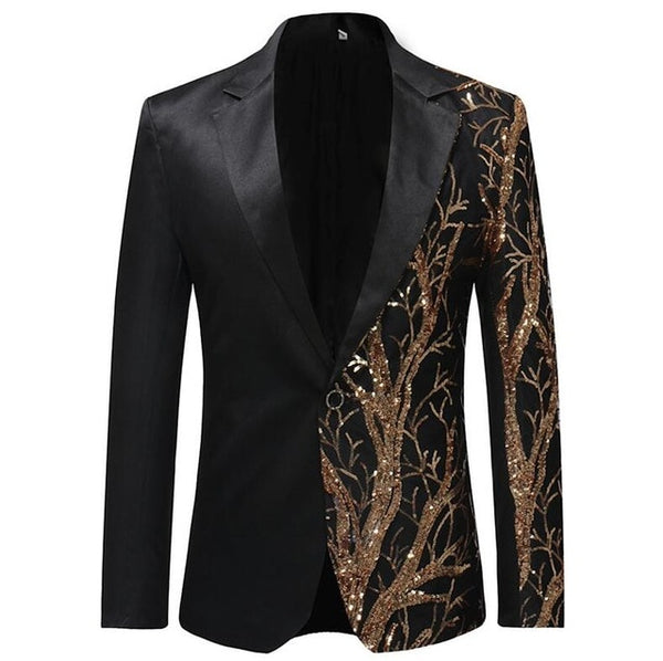 2019 Single Breasted Sequin Stage Suit Jacket Men Party Hip Hop Suit (Important Note:Please choose the size according to the size table)