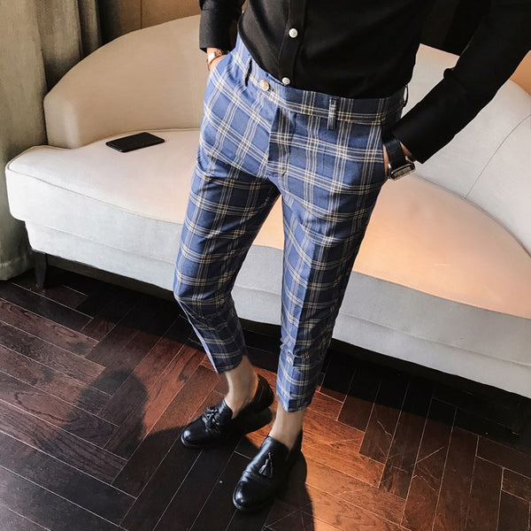Men Dress Pant Plaid Business Casual Slim check Suit Trousers Wedding