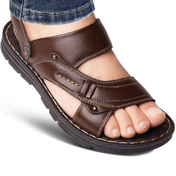 Quality Men's Leather Sandals Open Toe Slip-on Slippers Beach Sandal
