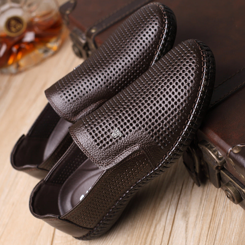 Summer Men's Genuine Leather Breathable Sandals Shoe Hollow Dress Shoes