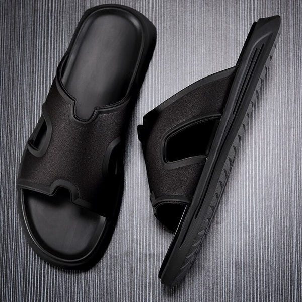 Top Quality Men's Leather Slipper Slip-on Beach Sandals Anti-slip Shoe