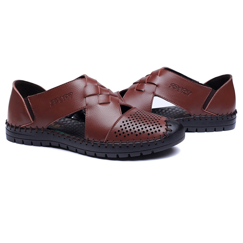 Quality Men's Genuine Leather Summer Sandals Beach Slip-on Shoes