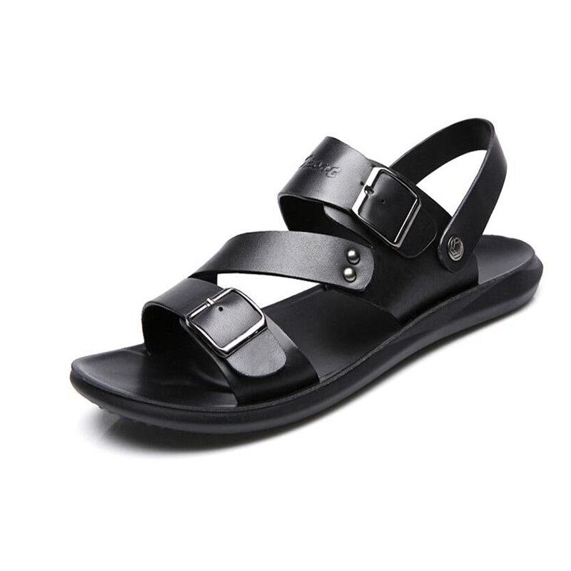 Men's Sandals Genuine Leather Slippers Slip-on Soft Beach shoes