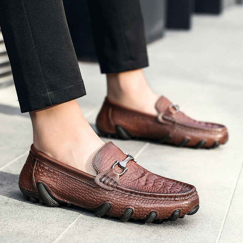 Men's Genuine Leather  Crocodile Moccasin Slip-on Loafer Shoes