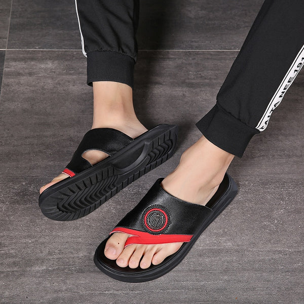 Men's Summer Cow Leather Slippers Sandal Beach Travel Shoes