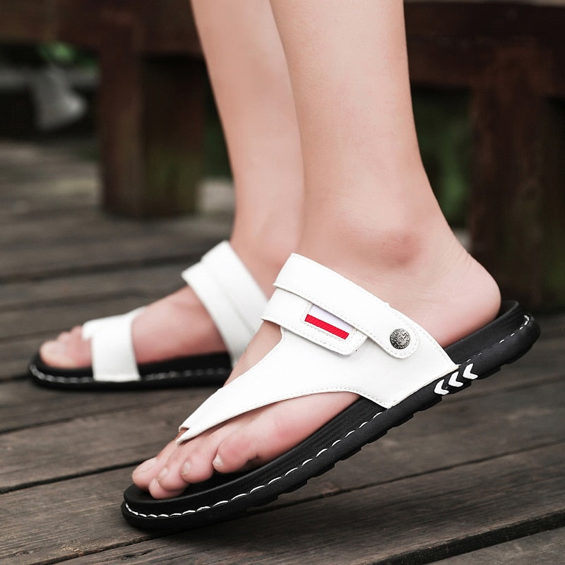 Men's Comfortable  Beach Sandals  Leather Slippers Sandals Shoes