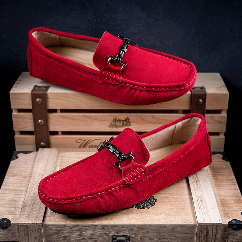 Luxury Men's Loafers Suede Leather Mocassin Slip-on Boat Shoes