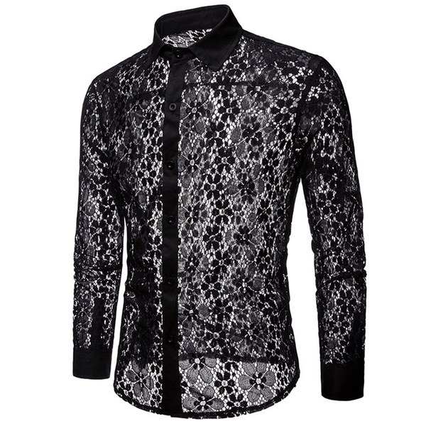 Luxury Men's Floral Embroidery Lace Shirt Sexy See Trough Dress Shirts