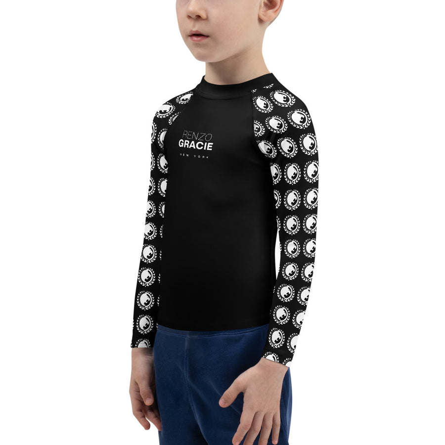 Renzo Gracie Kid's Rash Guard (White on Black)