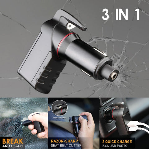 3 In 1 USB Car Charger - EscapeTool - Belt Cutter