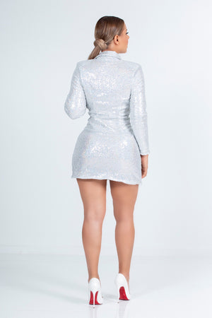 Silver Sequin Blazer Dress