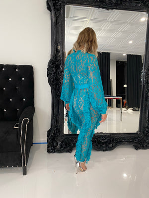 Teal Lace Jumpsuit