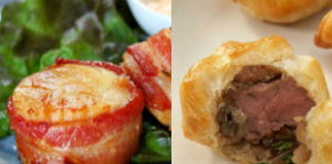 Appetizer Combo - Bacon Wrapped Scallops and Beef Wellington