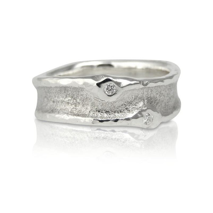Zena Gold Cast in Sand Wedding Band Ring Beach Ocean Wave Inspired Sustainable Jewellery eco friendly