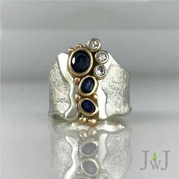 Blue Empower Ring Recycled Sapphires Recycled Diamonds and Gold