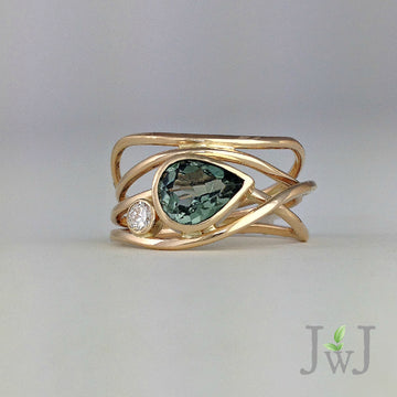 Green Horizon Ring Recycled Gold  Recycled Diamond Tourmaline