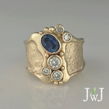 Montana Sapphire Empower Ring Recycled Dianonds Recycled Gold