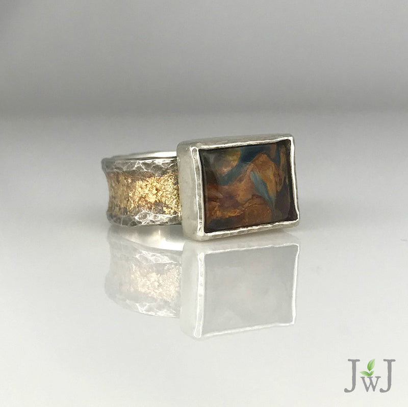 Pietersite Gold dusted Ring