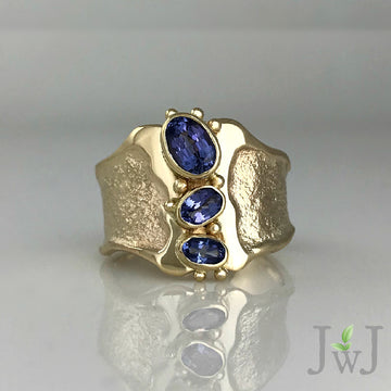 Tanzanite Empower Ring Sandcast Recycled Gold