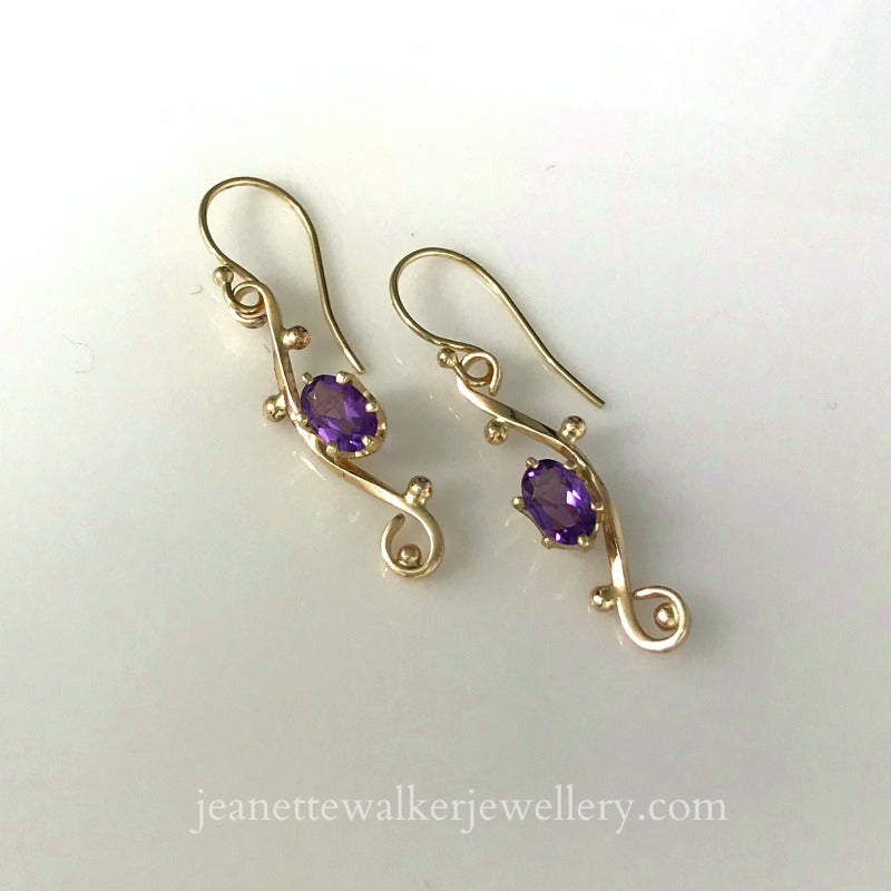Amethyst Twisted Swirl Earrings