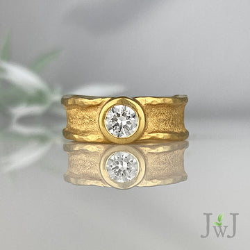 Engagement Ring Bridal Sandcast Recycled Gold Recycled Diamonds