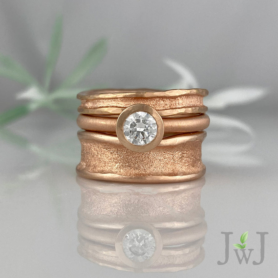 Engagement Ring Bridal Sandcast Recycled Rose Gold Recycled Diamonds