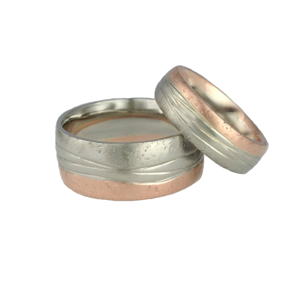 Sand Sea Shore sandcast Wedding Bands Gold Rings Set Beach Ocean Wave Inspired Sustainable Jewellery eco friendly