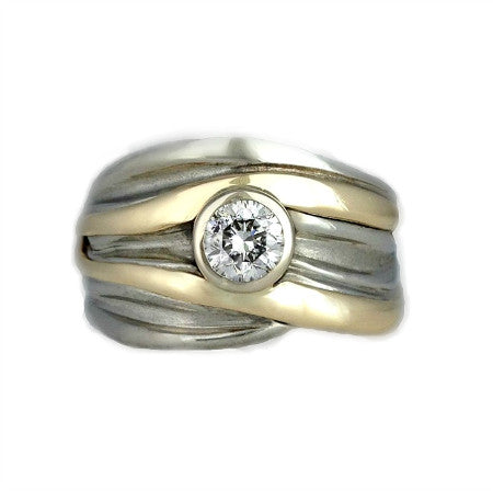High Tide Gold Diamond Ring Beach Ocean Wave Inspired Sustainable Jewellery eco friendly