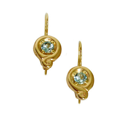 Sand Sea gold aquamarine earrings Beach Ocean Wave Inspired Sustainable Jewellery eco friendly