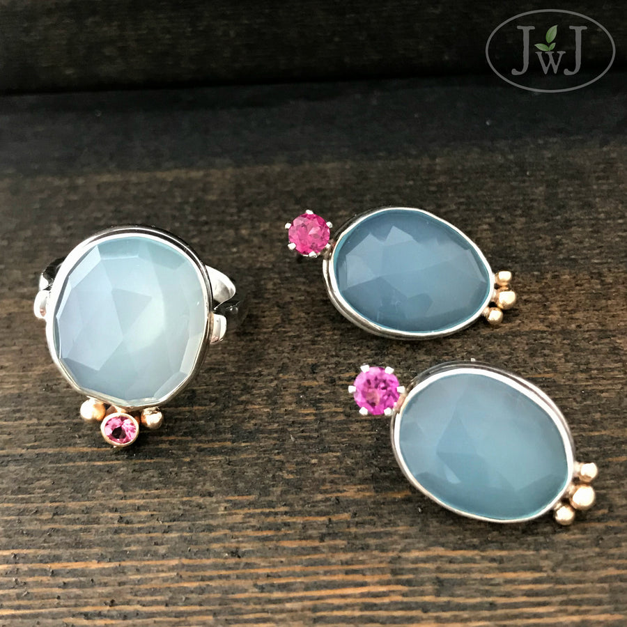 calcedony earring ring set