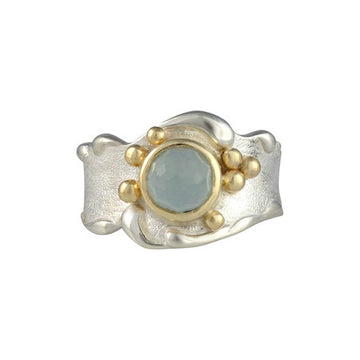 Sand Sea Aquamarine Gold Sand Cast Ring Beach Ocean Wave Inspired